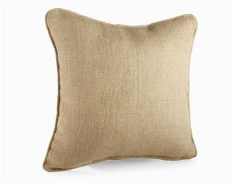 Plain burlap Pillow - 15 x 15 in size