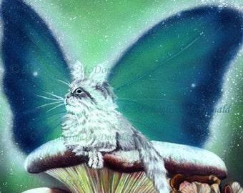Magic Mushrooms Fairy Cat Painting Fantay Art Print by Michaeline McDonald