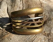 Vintage 70s Tri Color Solid BRASS COPPER White Metal Wide Cuff Bangle Bracelet Mixed Metal Modernist Boho Chic Hipster Jewelry