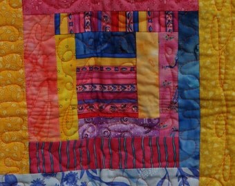 Baby Quilt Handmade .. Orange, Blue, Pink and Yellow, Abstract Patchwork Quilt in a Contemporary Look