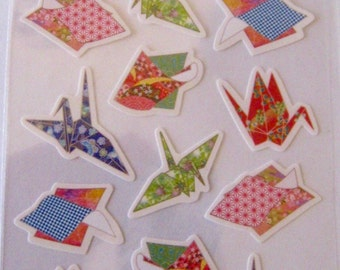 SALE Japanese Origami Crane Stickers by Hallmark of Japan.