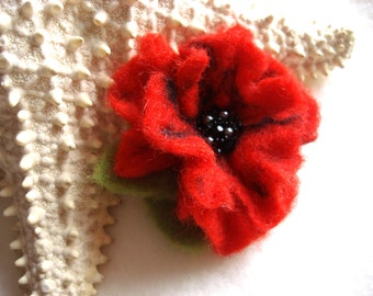 Small Red Poppy Felted Flower Pin,Wool Felt, Felted Wool,Hat Pin, Flower Brooch, Flower Pin Brooch, Flower Pin, Beaded Flower, Small Pin