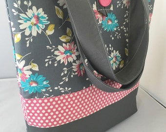 Ready to Ship...Large Tote/Diaper Bag...Grey and Pink Flowers...Shower Chic