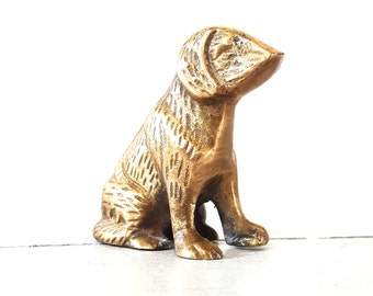 Vintage Brass Dog Paperweight Home Or Office Decor