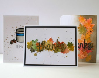 Set of 3 Thank You Greeting Cards, Thank You Notecards, Fall Thank You Cards