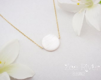 Mother of pearl shell necklace with your choice of silver, gold, rose gold chain.