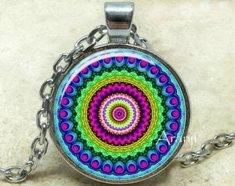Mandala necklace, kaleidoscope pendant, kaleidoscope necklace, mandala jewelry,  colorful mandala pendant, kaleidoscope, Pendant #PA130P