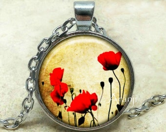 Red poppy art pendant, red poppy necklace, red poppy pendant, poppy necklace, poppy pendant, Pendant #PL116P