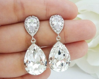 SALE Wedding Jewelry Bridesmaid Gift Bridal Earrings Bridesmaid Jewelry Clear White Swarovski Crystal Tear Drop Earrings Cubic Zirconia Earr