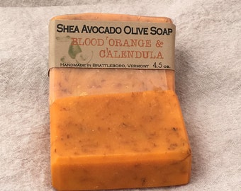 Cold Process Soap SHEA AVOCADO OLIVE Blood Orange & Calendula Bar All Natural Made in Vermont