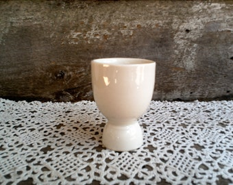 IRONSTONE EGG CUP, White Ironstone, Simple large Egg Cup, Kitchen, Brunch, Tableware, Creamy White, Breakfast Cup