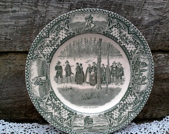 """CROWN DUCAL GREEN Colonial Times Dinner Plate, """"Going to Church"""", Green Transferware, English Transferware, Wall, Serving"""