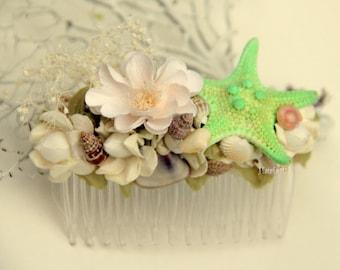 Mint Seashell hair comb, starfish hair comb, beach wedding, seashell fascinator, seashell hair piece, beach hair comb, mermaid hair comb,