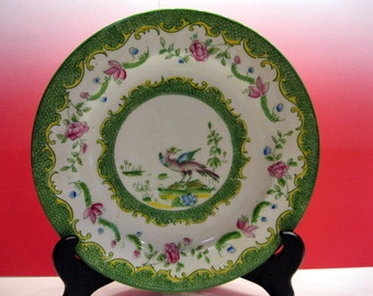 Balmoral China Plate, R&D, England, Redfern and Drakeford, Green and Pink, Flowers and Bird in Center.