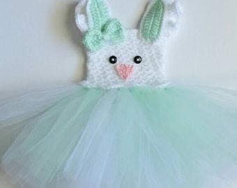 Easter Bunny Tutu Romper Dress Crochet Easter Rabbit Baby Toddler Ruffle Romper Handmade Photo Prop Romper Costume