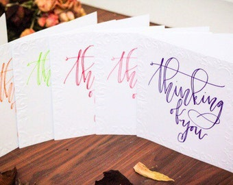 Hand-lettered Thinking of You Cards