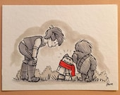 "Original, signed ""Wookiee the Chew"" drawing - ""Droidlet Has A Message - From A Princess!"" by James Hance"