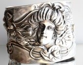 Antique William Kerr Unger Bros Art Nouveau Solid Sterling Silver 925 Cuff Bracelet Goddess Maiden Gibson GIrl Lady Face Victorian Repoussé