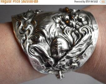 50 OFF SALE Antique Goddess Nymph Art Nouveau American Beauty Medusa Lady Repousse Solid Sterling Silver 925 .925 Cuff Bracelet Armlet Bangl