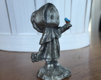 Vintage Hallmark Betsey Clark Happy Day Betsey Bluebird Little Gallery Pewter Figurine Collectible