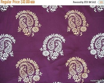 Flat 25% Off Paisley Block Printed Indian Cotton Fabric in Purple Color by Yard