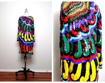 Vintage Trophy Sequin Dress // Fully Sequined Beaded Art Deco Dress Large