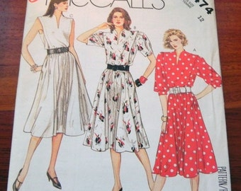 "SALE 1980s Sleeveless long sleeve Dress Sundress Tucks sewing pattern McCalls 2474 size 12 Bust 34"" UNCUT FF"