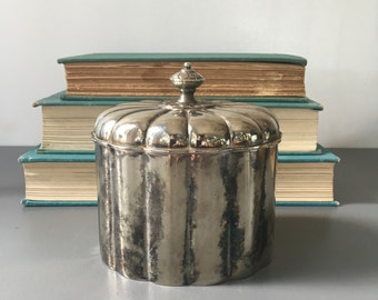 vintage silver plate jewelry box shell biscuit box