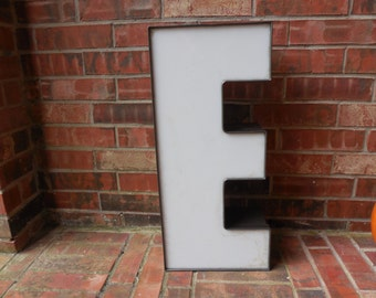 "2 Piece GIANT Reclaimed Metal & Plastic Capital Sign Letter ""E"", Wall Decor, Industrial Salvage, Home Decor, Office Decor, Industrial Decor"