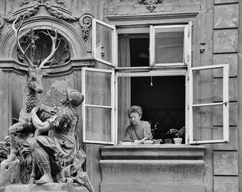 Prague Photography, Black and White Prague Photography, Travel Photo, Prague Window, Fine Art Photography, Large Wall Art