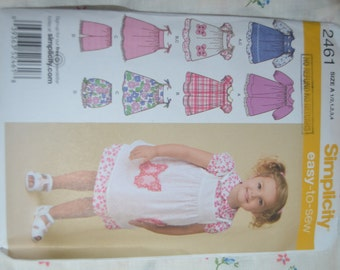 Simplicity 2461  Toddlers Dress Pinafore and Shorts  Sewing Pattern  -  UNCUT - Sizes 1/2 1 2 3 4