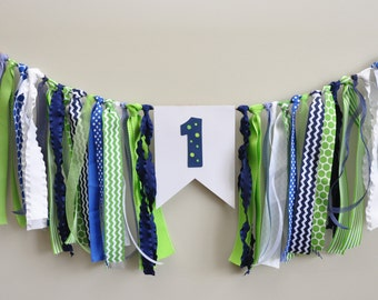 Ribbon High Chair Banner,  Preppy Alligator Party, Navy and green high chair banner