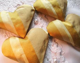 Silk Lavender Sachet - Gold, Rust, Cream, Olive Green Silk Sachet Set - Heart Sachets - Home Fragrance - Heart Sachet Set of Four for Drawer