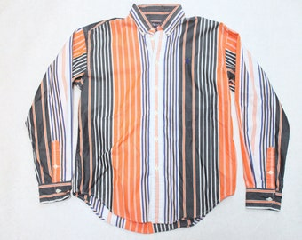vintage ralph lauren polo color block button up shirt - size extra small