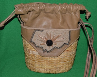 Vintage Rodo Vintage  Wicker Bucket Straw Leather Bag Purse 1980s