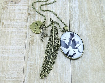 Bronze Large Oval Magpie Glass Pendant with Large Feather and small Love and Bird Charms w/Bronze Necklace