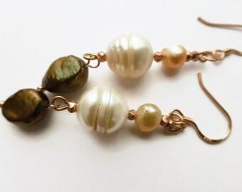 Pearl earrings, rose gold earrings, pearl earrings UK, freshwater pearl earrings.
