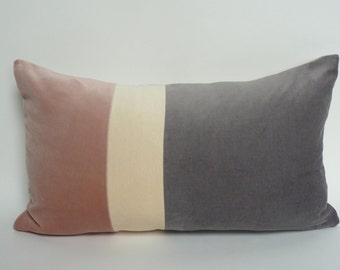 blush pink and grey pillow case // color block pillow case // modern home decor