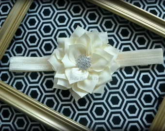 SALE - IVORY Chiffon Flower with Rhinestone on Elastic Headband, Clothing Accessory for Baby and Toddler Girls, Photo Prop