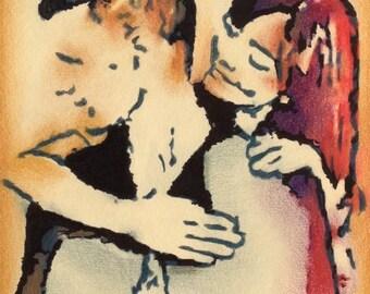 ORIGINAL ARTWORK - 'Matt & Jenna' - Pencil and Ink Drawing - Kirrily Duff - Doctor Who - Matt Smith - Jenna Coleman