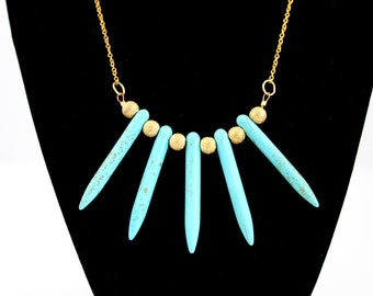 Turquoise Stone Spike Necklace with gold Stardust Beads on Gold Chain