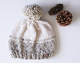 Knit Hat with Pom Pom . Beanie . Super Soft and Warm . Wool Acrylic Blend . Multiple Color Combinations and Choices