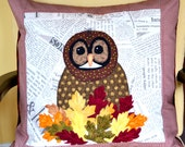 Quilted Owl Pillow Cover - Owl  - Quilted Owl Collage- Owl in Leaf Nest  - Fiber Art- Home Decor - Woodland Decor - Cottage Style Decor