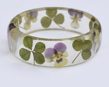 Real Flowers 4 Leaf Clover Viola Resin Bangle Wild Flower Botanical Jewelry Four Leaf Lucky Bracelet