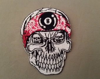 skull with bandana embroidered patch