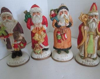 England Santa Victorian Santa Clause Figures Bisque Santa's From Around the World Figurines Belgium Santa  World Santa Clause Figures