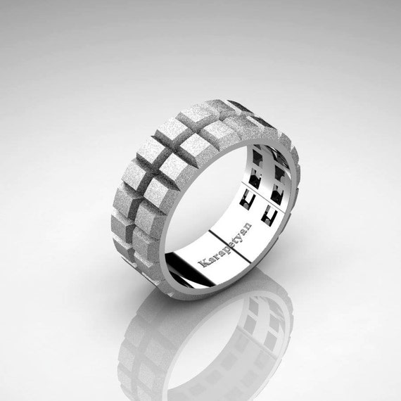 Mens Modern 14K White Gold Gear Solid Wedding Band