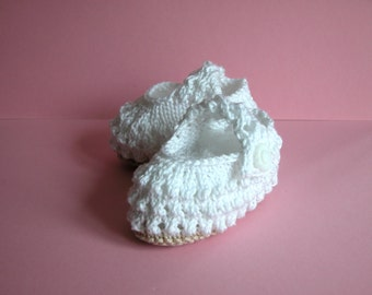 Hand Knitted Cotton Baby Booties  ( Mary Jane Sandals)