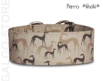 "Sighthound collar *Perro khaki*, greyhound collar, martingale dog collar, galgo, whippet, wide 1.6'' or 2"", custom"