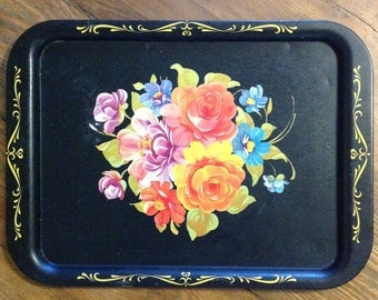 Toleware tin tray large hand painted tole ware floral on black shabby romantic cottage chic Victorian farmhouse serving home decor